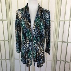 Slinky Open Front Cardigan with Ruched Shoulders